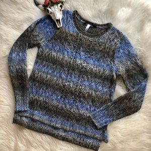 Kensie Blue Gray Ombre Cable Knit Pullover Sweater